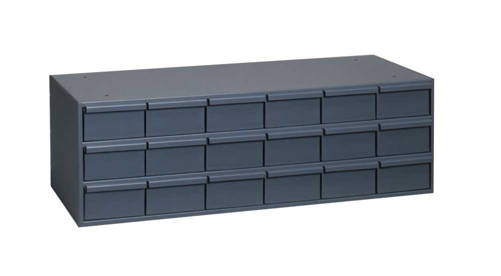 "Durham 032-95 Gray Cold Rolled Steel Storage Cabinet, 33-3/4"" Width x 12-7/8"" Height x 17-1/4"" Depth, 18 Drawer"