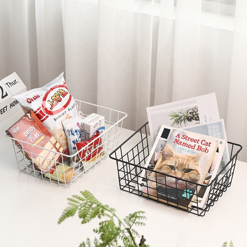 Japanese Style <strong>Bathroom</strong> <strong>Storage</strong> Wire Holder Rectangle <strong>Storage</strong> Wire <strong>Basket</strong> Stuff Book Snack Metal Wire Food <strong>Storage</strong> <strong>Basket</strong>