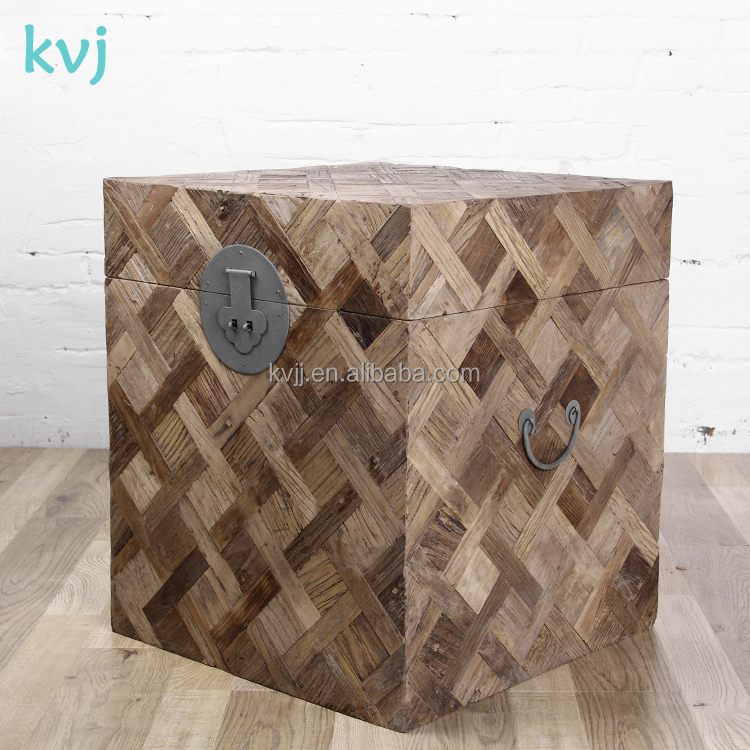 KVJ-7324 hot sale reclaimed distressed box storage wood cabinet