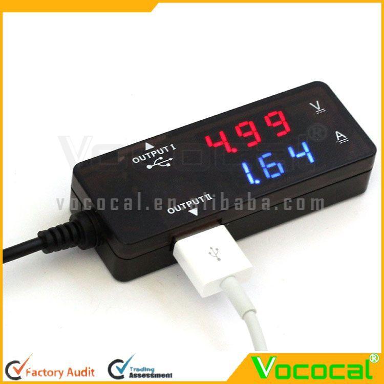 Digital Led Usb 2.0 Dual Output Charging Voltage Current ...