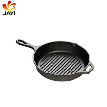 Heat Retention Grill Pans Cast Iron Skillet Preseasoned Pan With Curved Handle