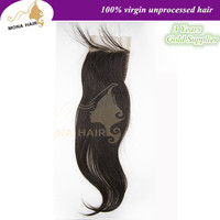 Wholesale human silk straight best quality lace closure bleached knots