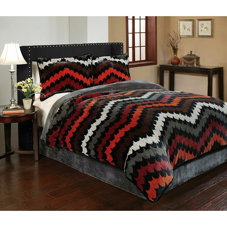 3pc Grey Brown Red Orange Southwest Chevron Comforter King Set, Boho Chic Horizontal Zigzag Stripe Tribal Bedding, Zig Zag Southwestern Themed Pattern Microplush Velvet Black White