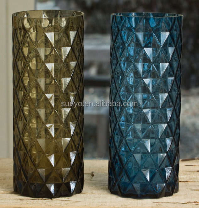 DOF dublin leadfree crystal high quality cylinder blue brown solid color long straight flower glass vase
