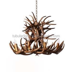 Zhongshan Rustic Resin Deer Antler Branches Chandelier with 18 candle holder light