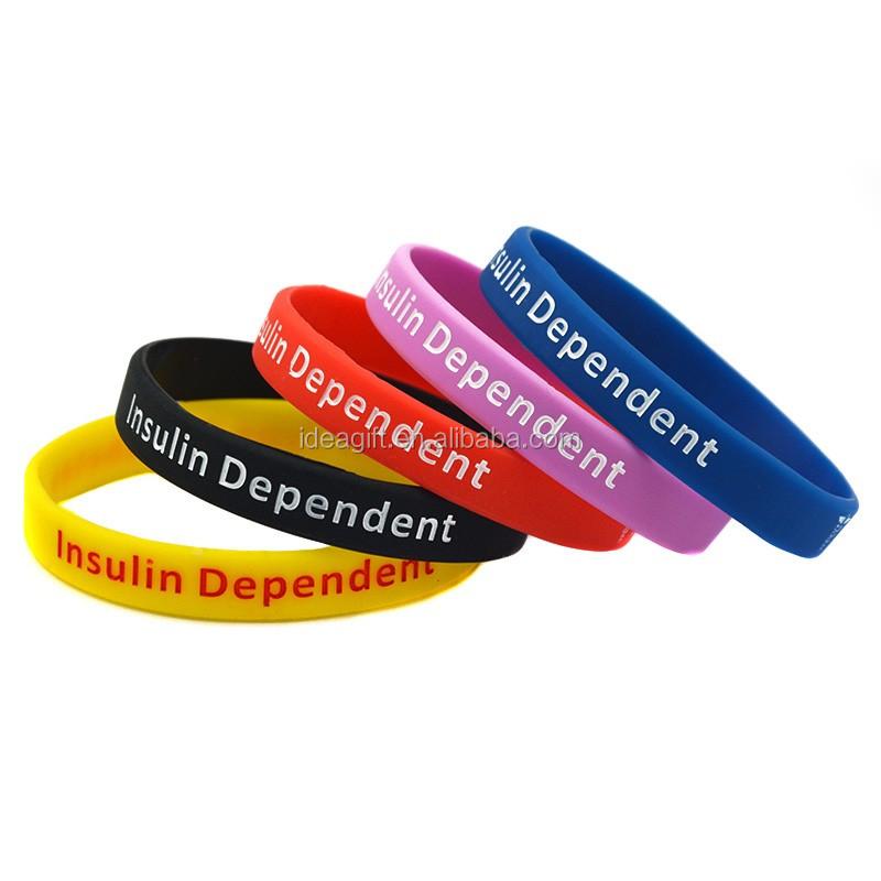 ce9f9936f00d 50 unids lote Alerta Médica pulseras de silicona para la Diabetes de tipo 1  dependiente