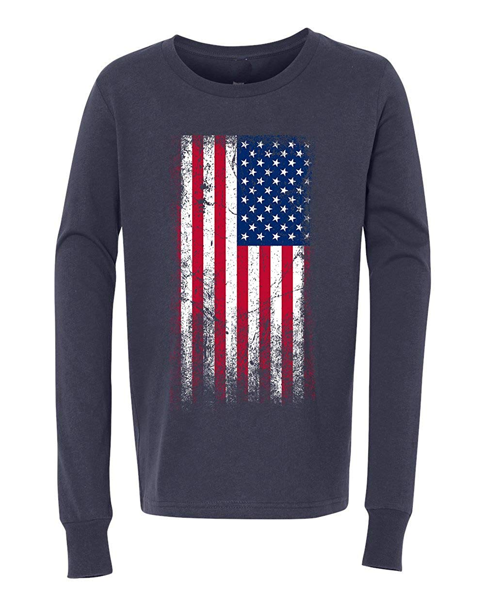 dbfc16f2 Get Quotations · Custom Apparel R Us American Flag Red White Blue USA Youth Long  Sleeve T-Shirt