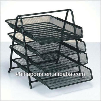 Four Levels Mesh File Tray Metal File Tray File Cabinet