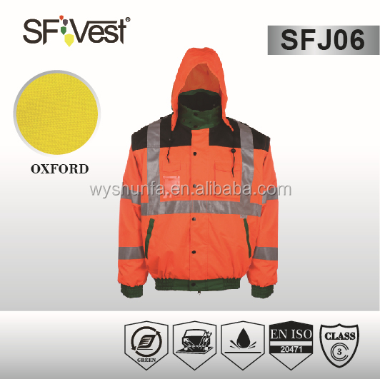 latest shirt design for man 2015 coats and jackets mixed color security reflective safety rain jacket with detachable hooded