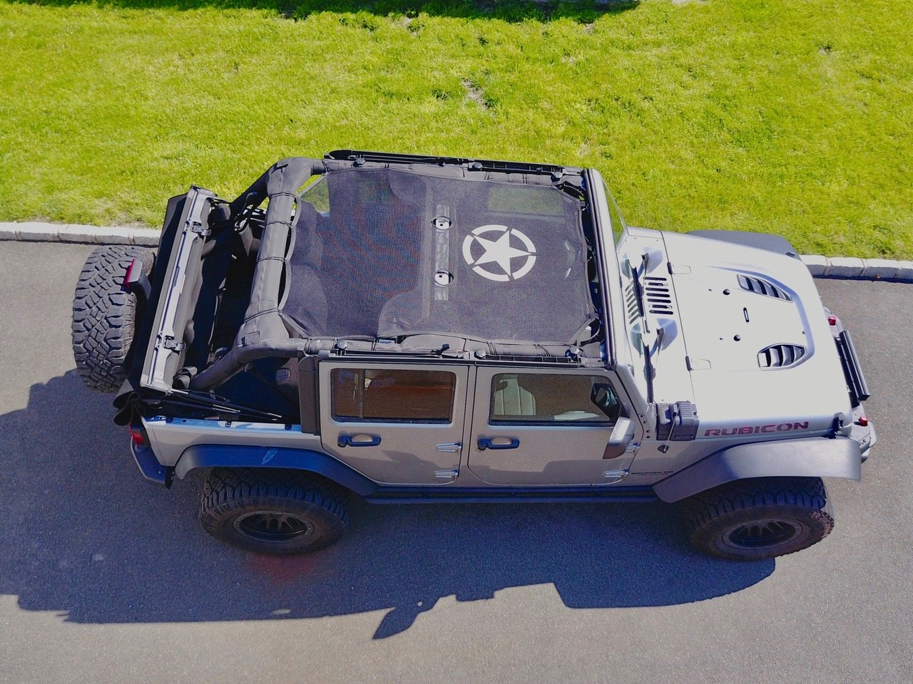Get Quotations · Jeep Wrangler Durable Bikini Mesh Sun Shade Full Top  Sunshade Cover UV Protection With Storage Pockets