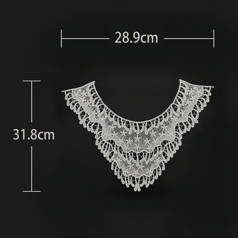 Bridal garment border lace mesh cotton crochet neck white lace fabric