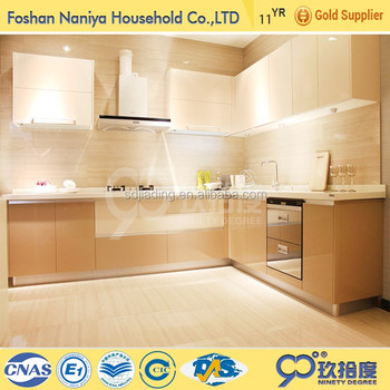 High gloss lacquer luxury kitchen furniture with glass sliding door kitchen cabinet