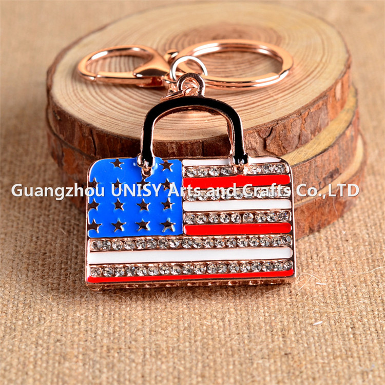 Europe and the United States fashion key chain American flag bag key chain key ring / car accessories promotion gift