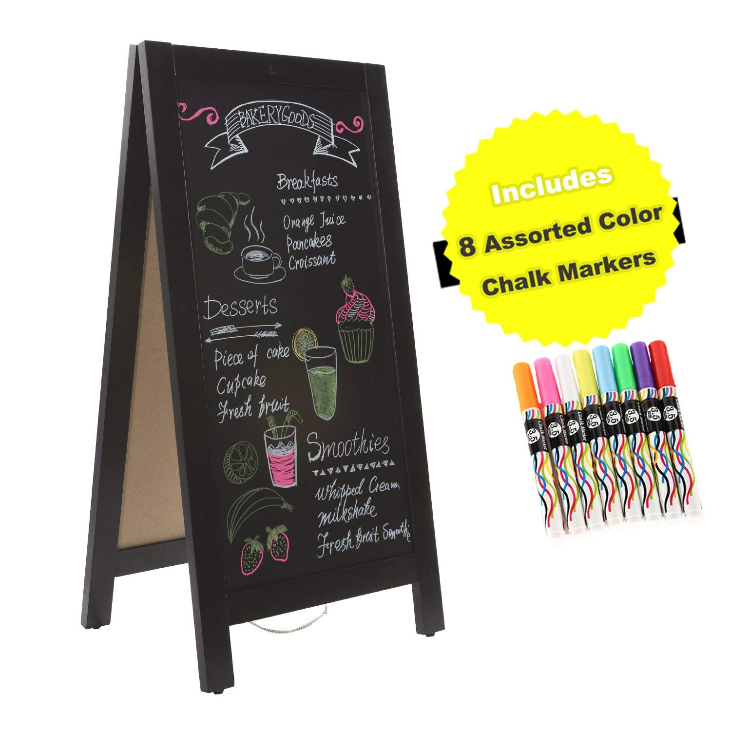 4 Thought A-Frame Magnetic Chalkboard Sign 40 x 20 Inches, Classic Wooden Freestanding Sidewalk Sign, Double-Sided Sign Board for Restaurant Shop Wedding Party, Black