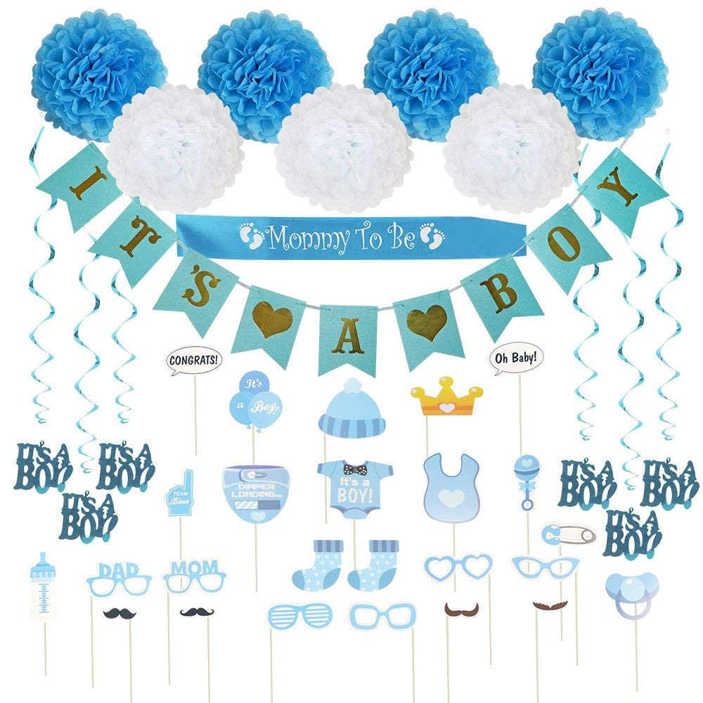 Baby Shower Decorations 40 pcs Kit for Boy   Assembled Banner   Party Photo Booth Props   Blue & White Flower Tissue Pom Poms   Swirls   Mommy To Be Sash   New Cute Design All in One Set Ready to Use