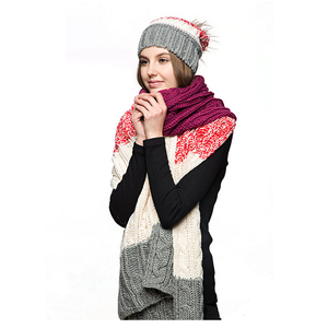Cheap Custom Ladies Woman Outdoor Winter Warm Scarf And Hat Suit