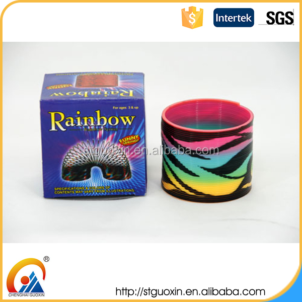 Magic Spring Slinky Heat Transfer Series Phoenix Tail Pattern Coil Rainbow Ring Spring Toy