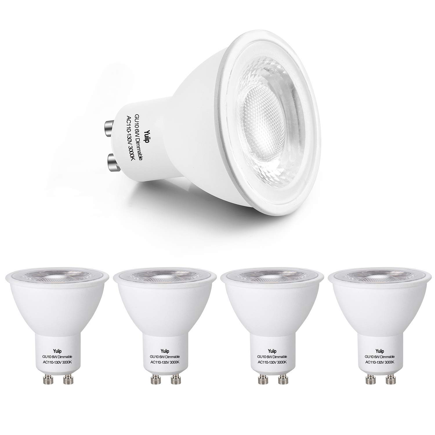 GU10 LED Bulb Dimmable GU10 Base Light Bulb Warm White 3000K LED GU10 Spotlight 6W (60W Halogen Lamp Equivalent) AC110-130V COB GU10 LED 38 Degree Beam Angle UL Listed 5 Pack Yuiip