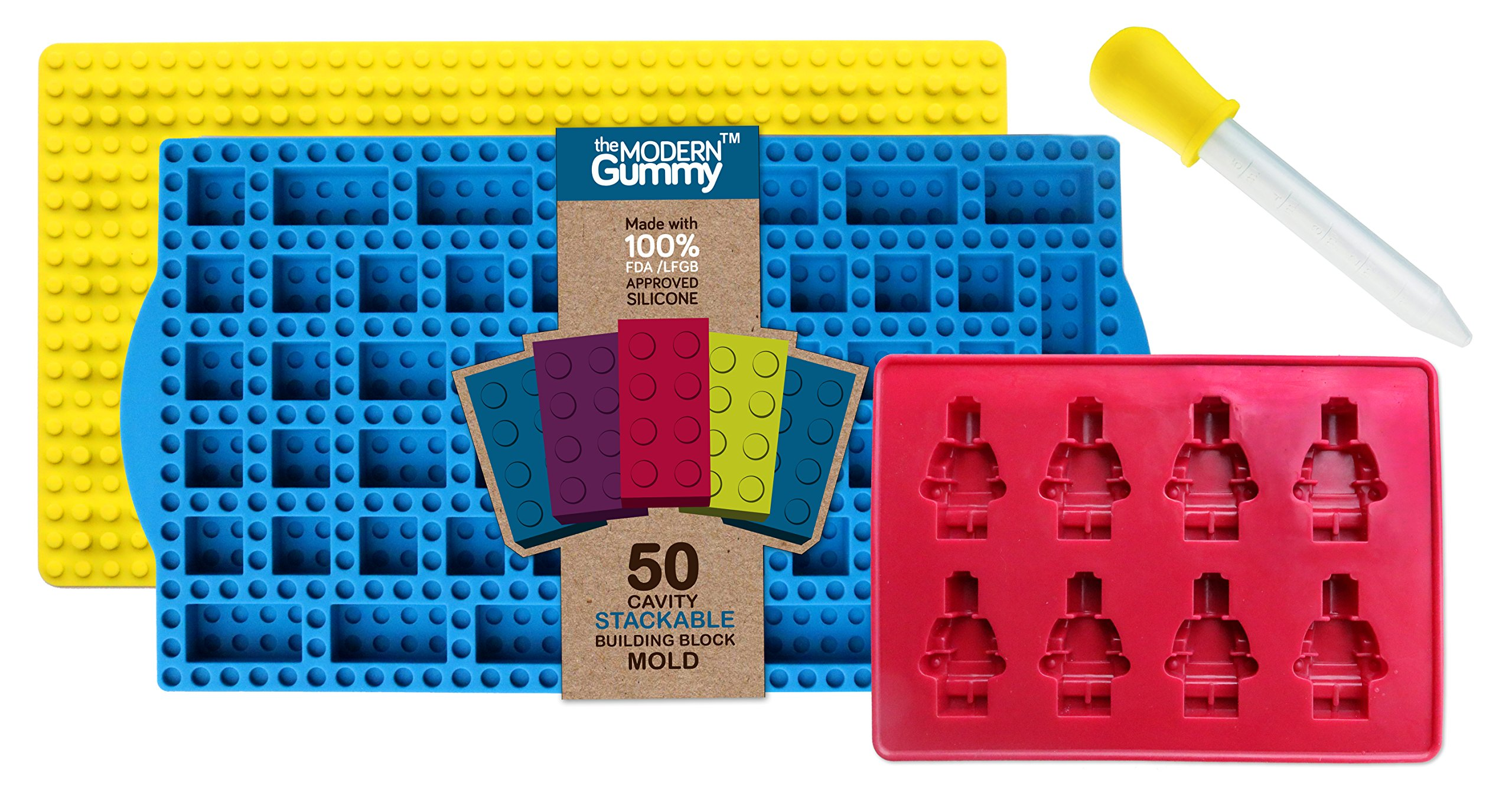 New STACKING 50 Cavity Building Block Candy Mold + Base Plate Style LID + Figure Mold + Dropper + Recipe PDF by the Modern Gummy | Patent Pending Molds Made with PURE LFGB Silicone for fans of LEGO