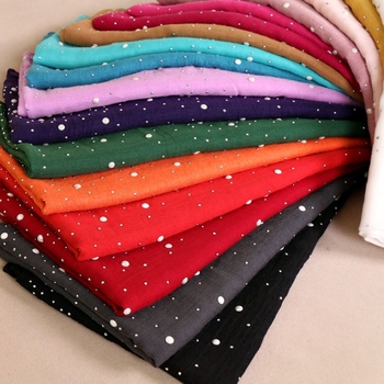 New Party Wear Hijabs Head Scarf Islamic Women Colorful Cotton Headscarves With Diamond