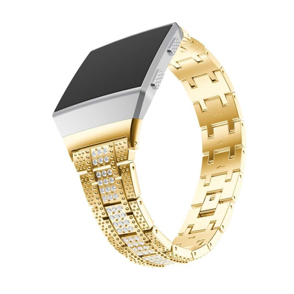 Appoi Noble Luxury Watch Strap Alloy Crystal Watch Band Wrist Straps Gold For Fitbit Lonic