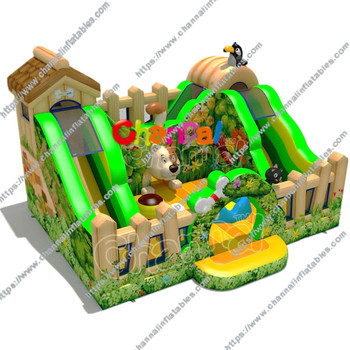 New design flower themed inflatable kids play center slide bouncer popular inflatable jumping castle  inflatable playground