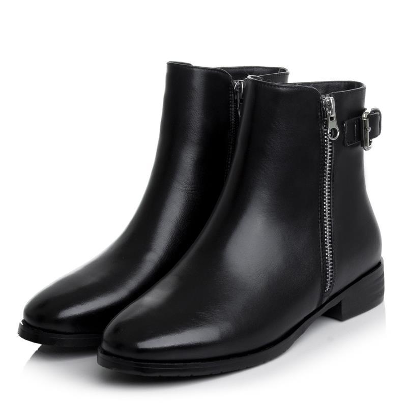 2015 hot sale ankle boots for women low heels genuine leather ladies shoes zip round toe solid black motorcycle boots