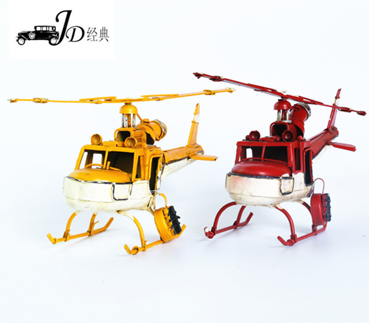 2016 new design 100% Handmade Vintage Iron Helicopter Model home decoration metal crafts