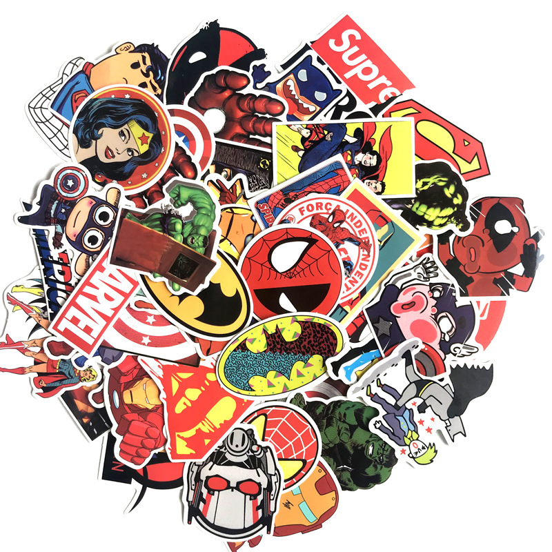 50 Pcs Marvel The Avengers Cartoon Sticker Waterdicht Voor Laptop Moto Skateboard Bagage Gitaar Decal Speelgoed Stickers