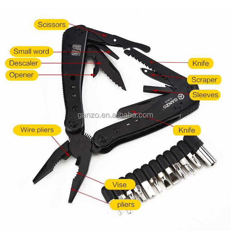 G201-B crimping tool 13 in 1 stainless steel multi tool with opener descaler survival knife outdoor tools