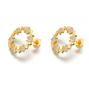 Fashion 18k gold filled mon stud earrings with cz for mother's day gift