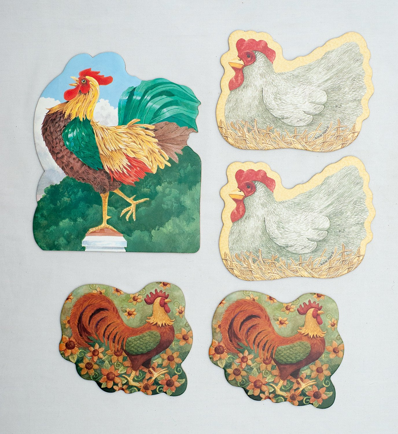Hen and Rooster Chicken Themed Absorbent Beverage and Pitcher Coasters with Cork Backing (Pack of 5) Beverage Coaster Artwork by Diane Knott and Teresa Kogut