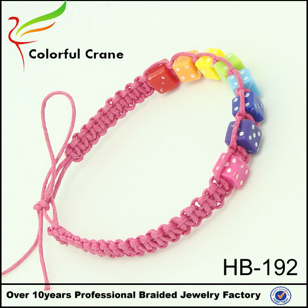 Pink Hand Woven Friendship Bracelets Plastic Dice Charm And Wax Cord Braided Bracelet Whole