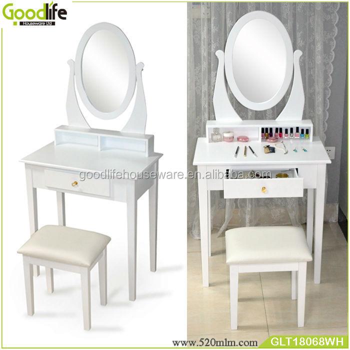 טוב מאוד רגלי שולחן איפור עם מראה מואר עץ ועץ מלא-ארונות סלון-מספר זיהוי HL-73