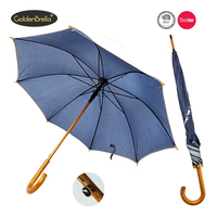 Promotional Anti rain&sun wooden straight umbrella reflective with logo print