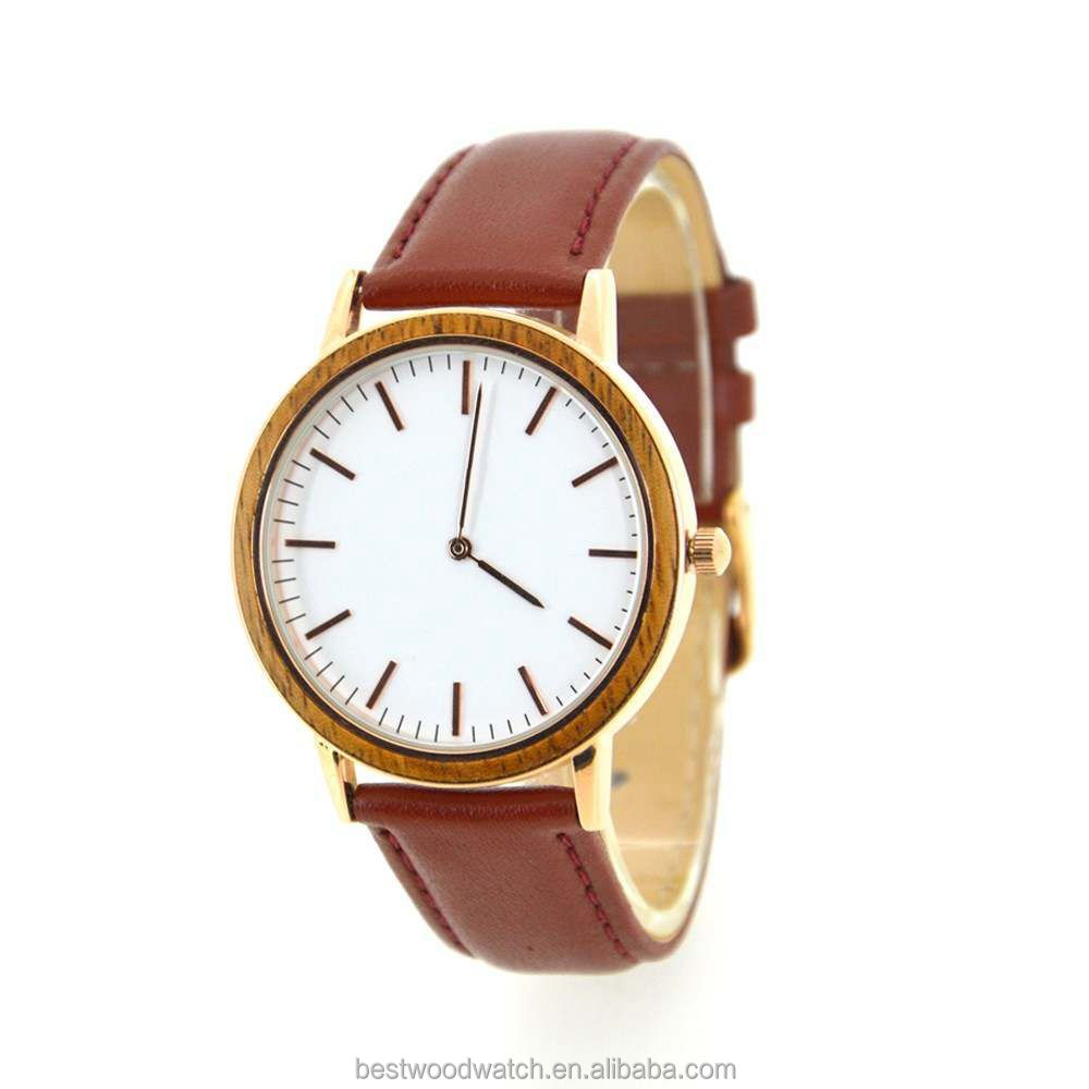 Kingly Rose Gold Stainless Steel Case Back Genuine Leather Quartz Watch