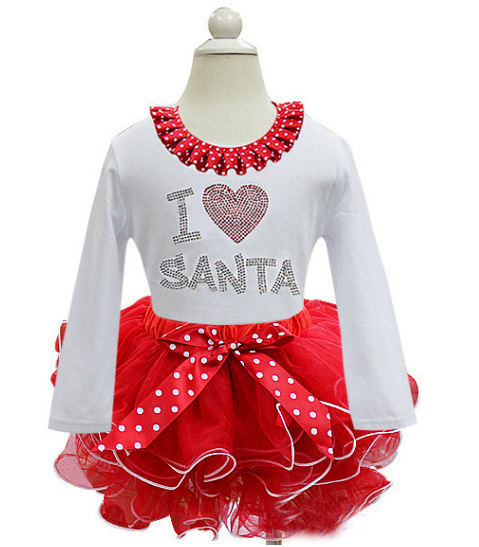 2015 New Style Girls Long Sleeve Christmas Dresses Kids Santa Claus Christmas Clothes Toddler girl fashion Dot party dresses