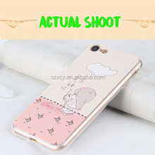 2016 latest popular 2 in 1 TPU PU leather 3d relief cute cartoon pattern cell phone case for Iphone 7 7 plus