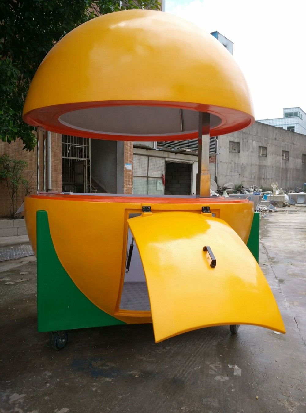 Outdoor orange stand juice mobile park resin kiosk juice for Mobili kios