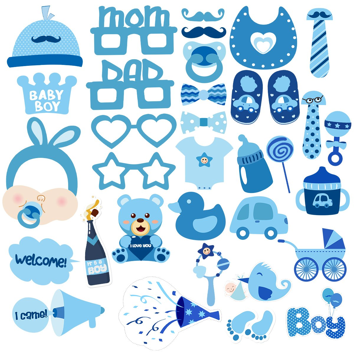 BESTOYARD Baby Shower Photo Props Baby Bottle Masks Photobooth Props It's A Boy Baby Shower Party Photo Booth Props Kits Party Decorations 34pcs