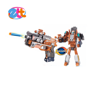 metal soft gun transform robot with soft bullet , deformation robot and gun