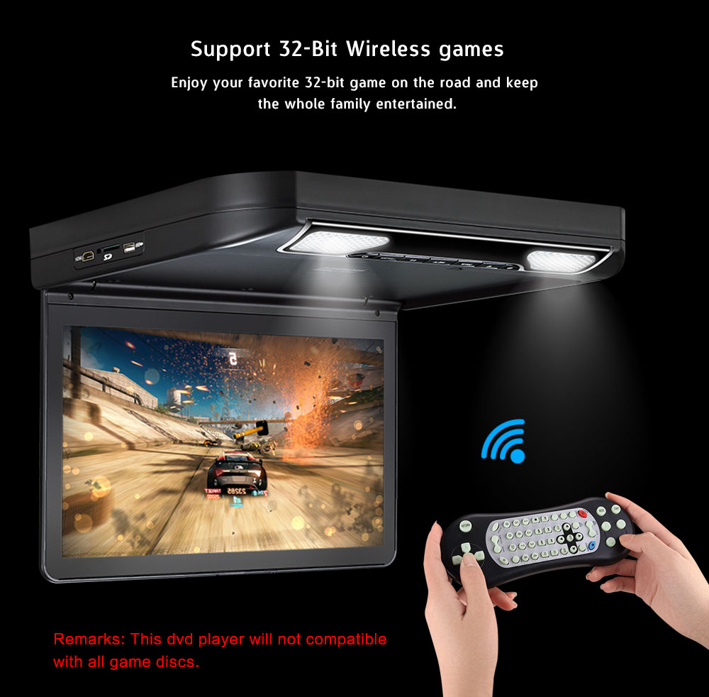 13'' roof mount dvd player high resolution flip down for bus