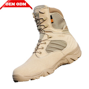 OEM Rubber outsole High ankle tactical military army desert boots with zippers tactical boots army