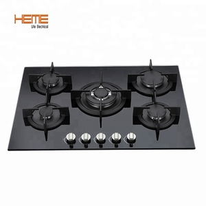 Long lifetime kitchen appliance 5 burners best glass type built in gas stove / gas hob / gas cooker
