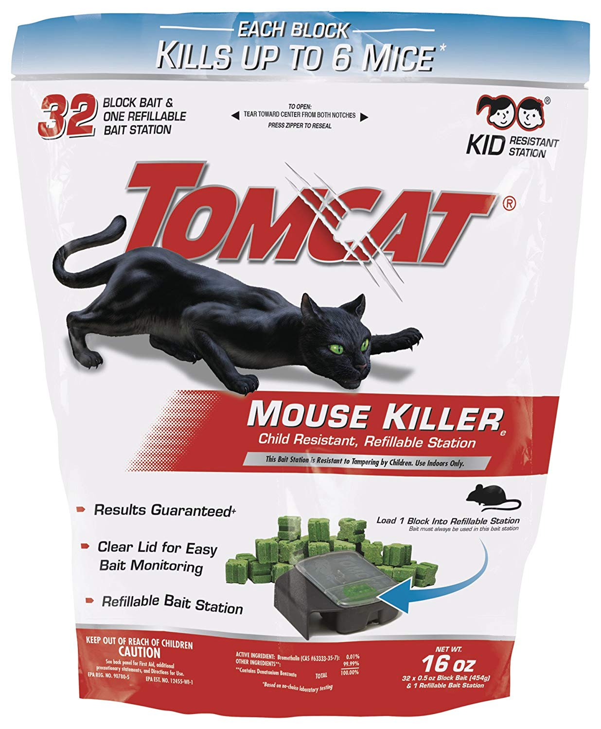 Tomcat Mouse Killer Refillable Station for Indoor Use - Child Resistant (1 Case of 8 Stations, with 32 Baits Each)