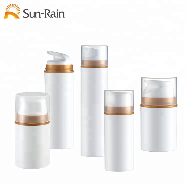 Wholesale custom color white plastic <strong>pp</strong> big capacity 100ml 150ml 200ml airless pump bottle