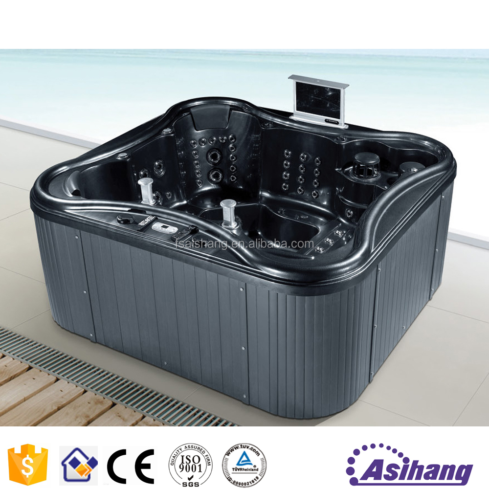 foshan AS32161 outdoor cheap cast iron black whirlpool bathtub
