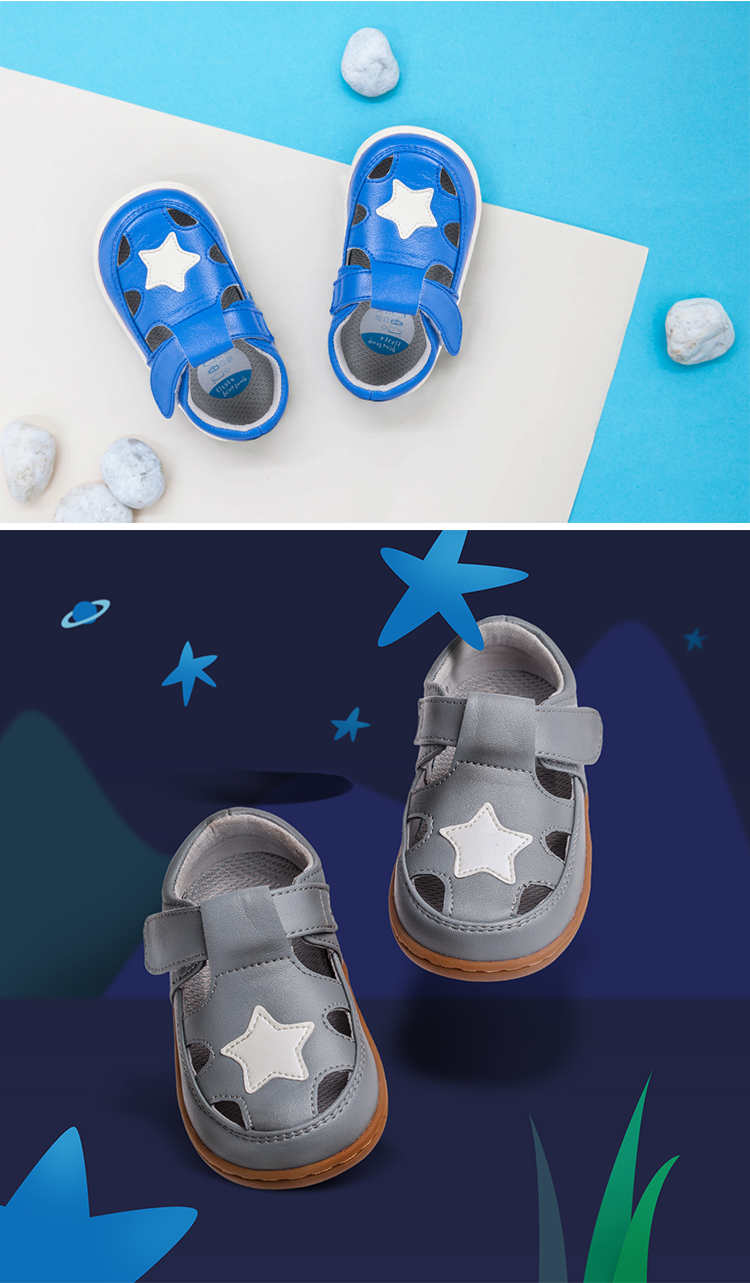 littlebluelamb T-strap blue sandals summer fashion star new born baby shoes for boy