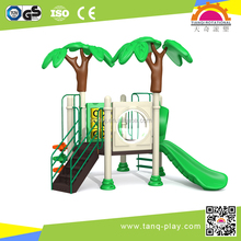 funny outdoor combined PLASTIC slide in jungle theme and in ISO 9001 certificate