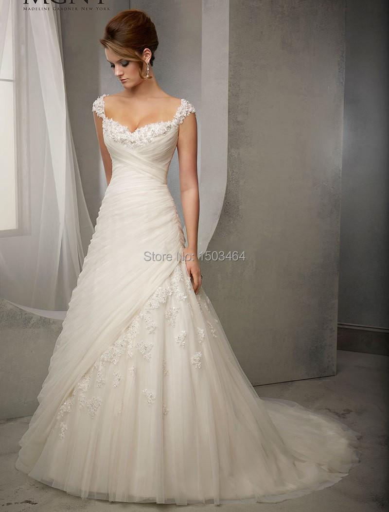 elegant princess capped sleeves wedding dresses 2015 sweetheart a line appliques bridal gowns. Black Bedroom Furniture Sets. Home Design Ideas